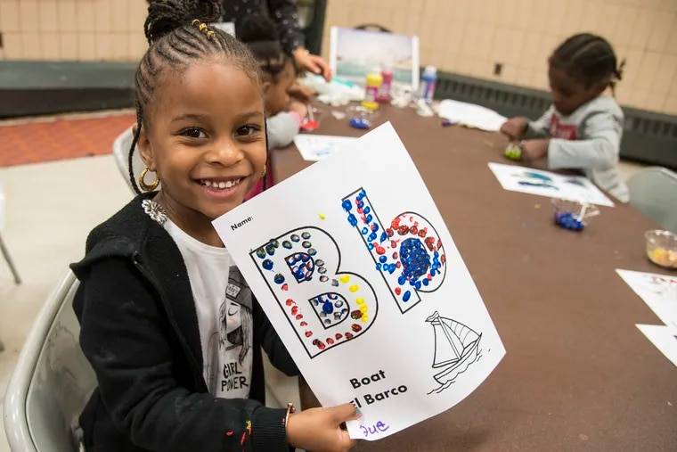Suhaylah Gilliland, 4, a student in a Pre-K program at a North Philadelphia community center.