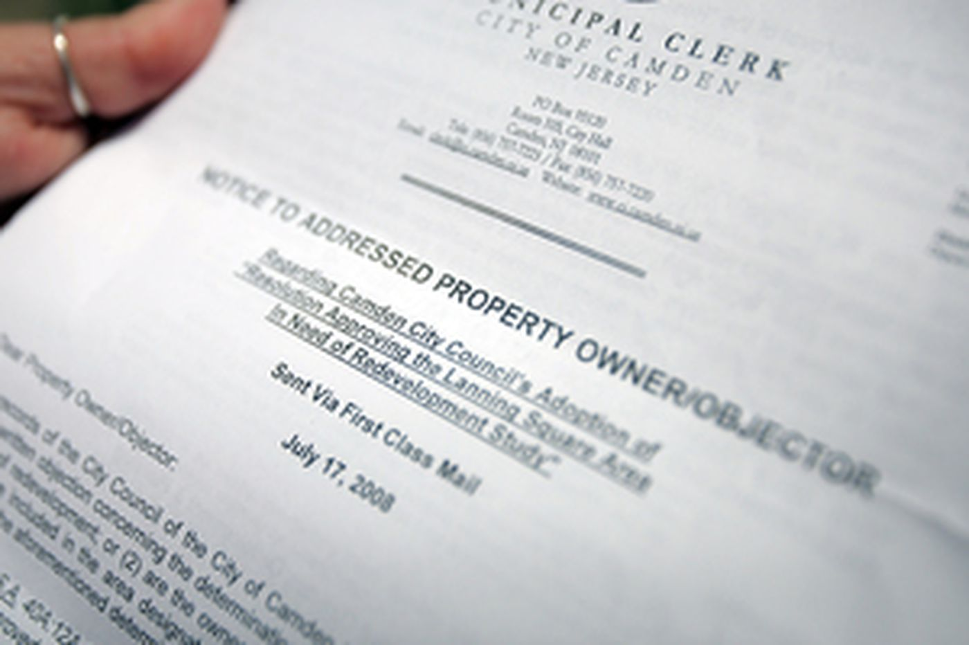 Camden letter makes residents fearful of eminent domain