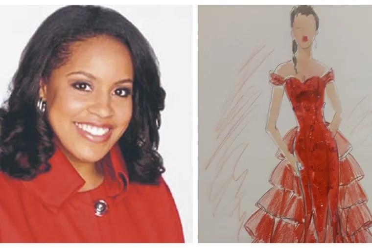 Today's Sheinelle Jones wears the red dress design by Magadelene LaRoche.