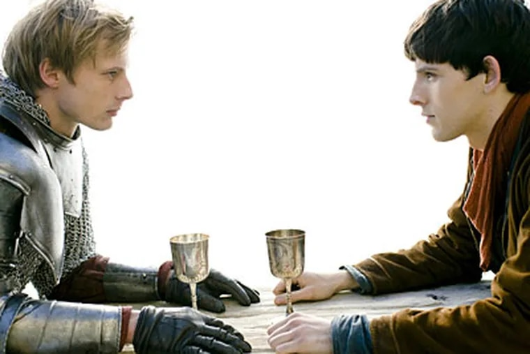 In the 13-part series, premiering tonight, Bradley James (left) stars as Arthur and Colin Morgan as Merlin.