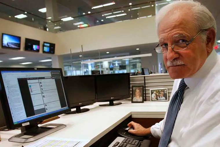 6ABC anchor Jim Gardner, seen here in 2013 working at his desk in the station's newsroom.
