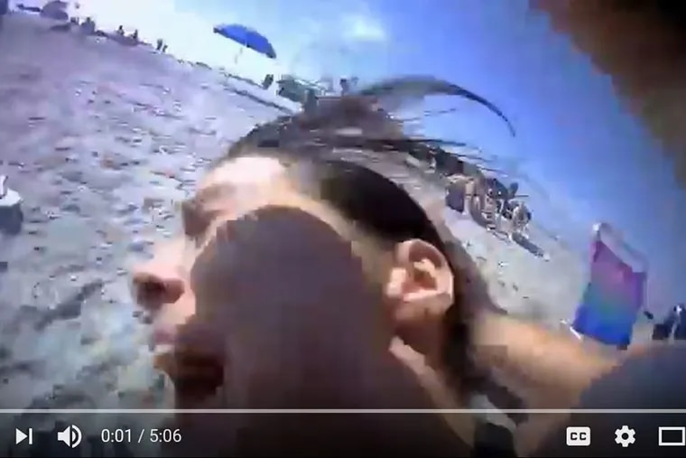 Still from a body cam video released by Wildwood police Wednesday night shows the Memorial Day weekend arrest of Emily Weinman, 20, of Philadelphia