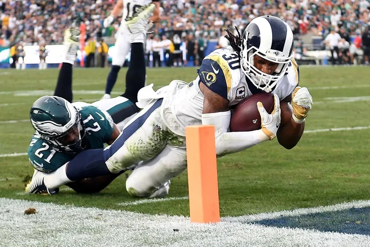 Rams running back Todd Gurley is tackled short of the goal line by the Eagles' Patrick Robinson in the fourth quarter.