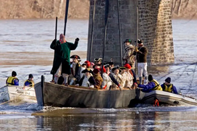 Safely under tow by powerboats, the replica Durham boat bearing about 25 reenactors is brought back upriver to the Pennsylvania launching point. No other crossing was attempted.