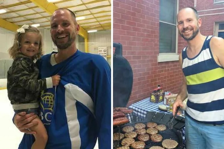 Gerard Grandzol seen in August 2017, with his daughter Violet, 2, at an ice hockey tournament in Voorhees, and barbecuing on his Spring Garden block.