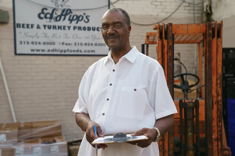 Ed Hipp, owner of the North Philly based company Ed Hipp Foods, shown here at work, in Philadelphia, July 9, 2019.  Hipp's turkey bacon was just accepted to be sold at Walmart.