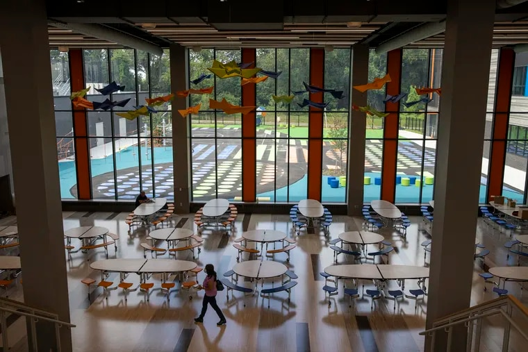 The cafeteria at Northeast Community Propel Academy, a new Philadelphia School District K-8 at 7500 Rowland. The $80 million, 180,000-square-foot school opened Tuesday.