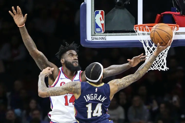 Norvel Pelle had three blocks in the Sixers' win over New Orleans Friday night.