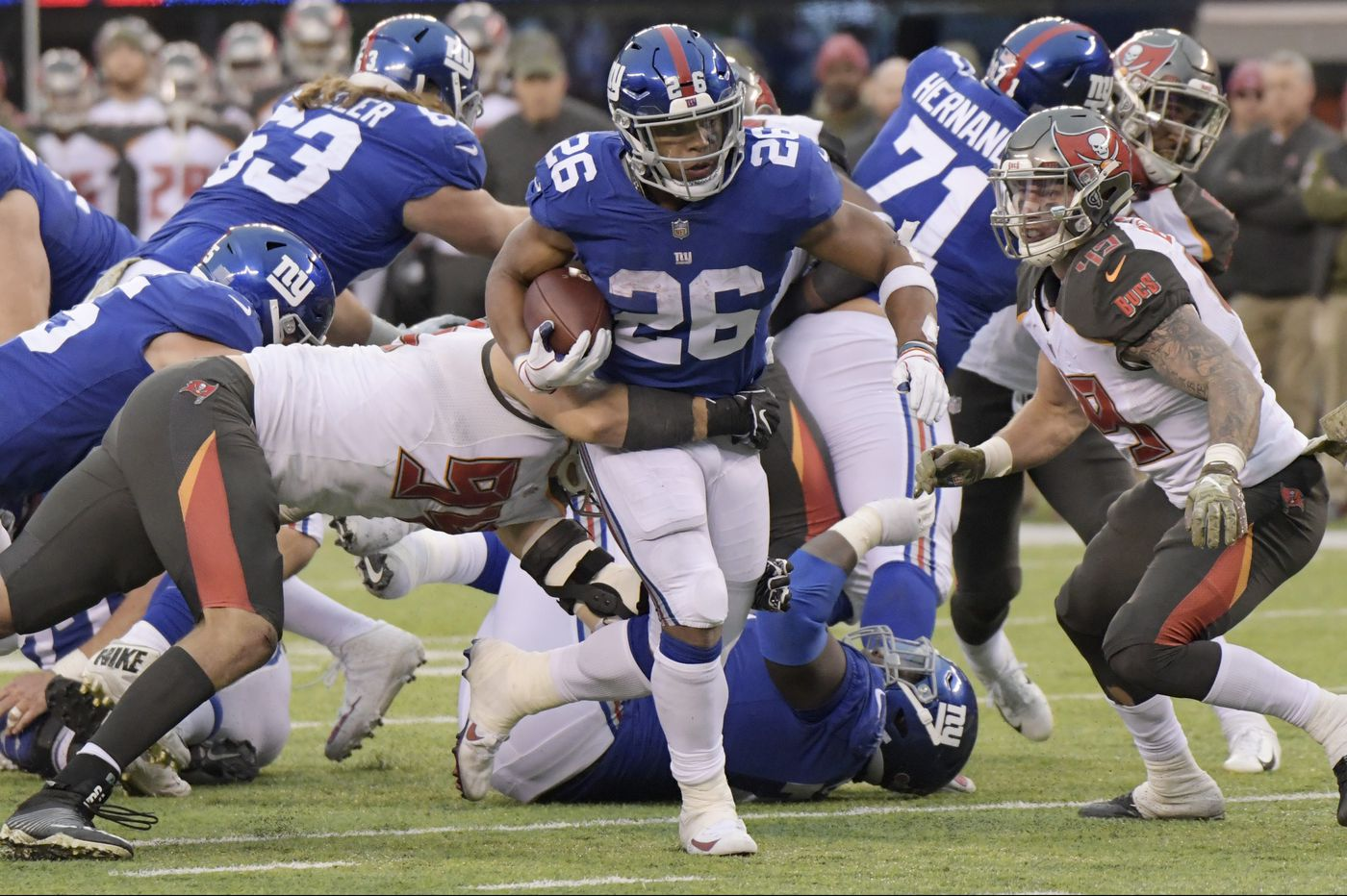 3bf8e112320 NFL in review  Saquon Barkley s monster game highlights Week 11  winners  and losers