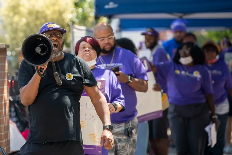 Union workers protest on Friday August 6, 2021., at the PowerBack facility at 1526 Lombard St. in Philadelphia, Pa. they are holding a one-day strike to protest a spike in health-insurance costs under new operator, ProMedica, which took over in April from Genesis Healthcare.