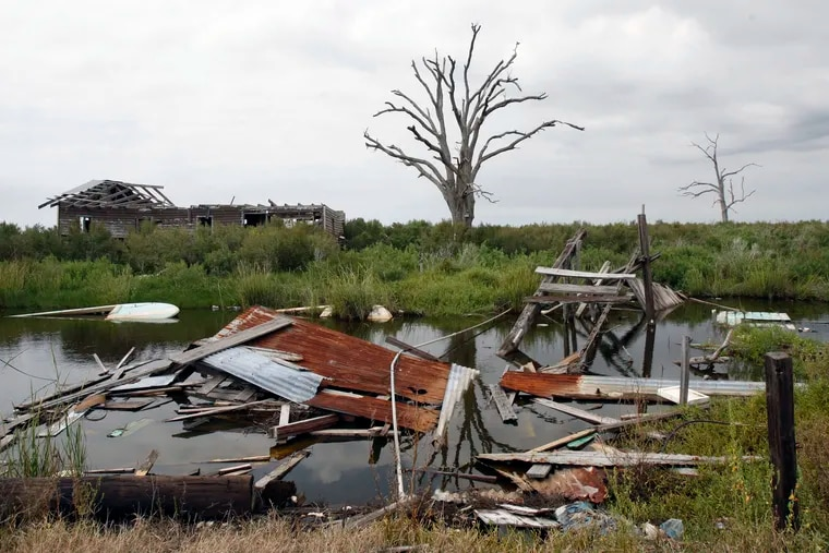 This Sept. 29, 2009 photo shows a dead tree and debris from storms on Isle de Jean Charles, La. Holdouts in the hurricane-damaged Indian village refuse to give in to urges from a tribal chief, scientists and public officials to relocate inland, despite frequent floods and disappearing marshland that brings the Gulf of Mexico closer every year.