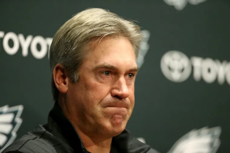 Eagles head coach Doug Pederson pauses during a news conference at the NovaCare complex in Philadelphia, PA on December 11, 2017. He announced quarterback Carson Wentz has a torn ACL.