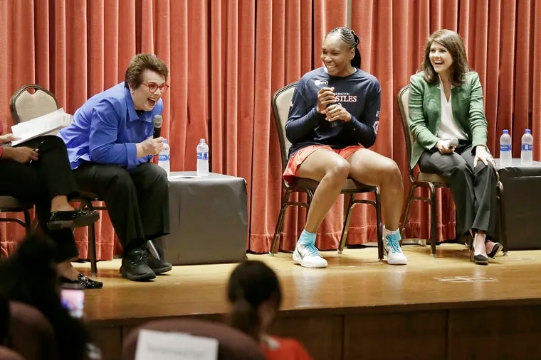 Billie Jean King (left), Venus Williams and Valerie Camillo during the Conversation with Billie Jean King and Friiends event at St. Joseph's University in Phila., Pa. on July 26, 2019.