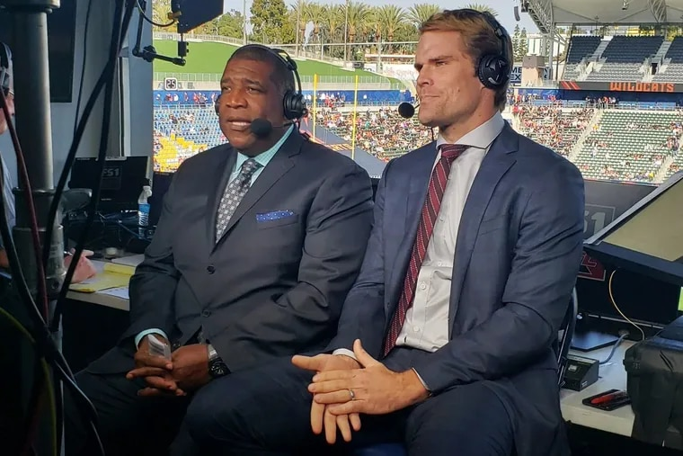 """Former Carolina Panthers tight end Greg Olsen (right), seen here alongside """"Fox NFL Sunday"""" host Curt Menefee, will call Eagles-Falcons on Sunday. Joining him in the booth will be play-by-play veteran Kevin Burkhardt."""