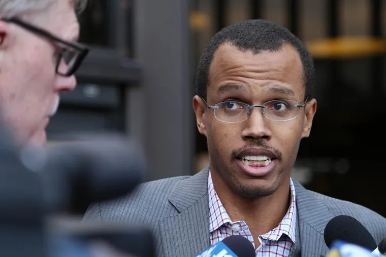 Chaka Fattah Jr. speaks with reporters outside Philadelphia Federal Courthouse at 6th and Arch streets after being indicted on fraud and tax charges on August 5, 2014. ( Andrew Thayer / Staff Photographer )