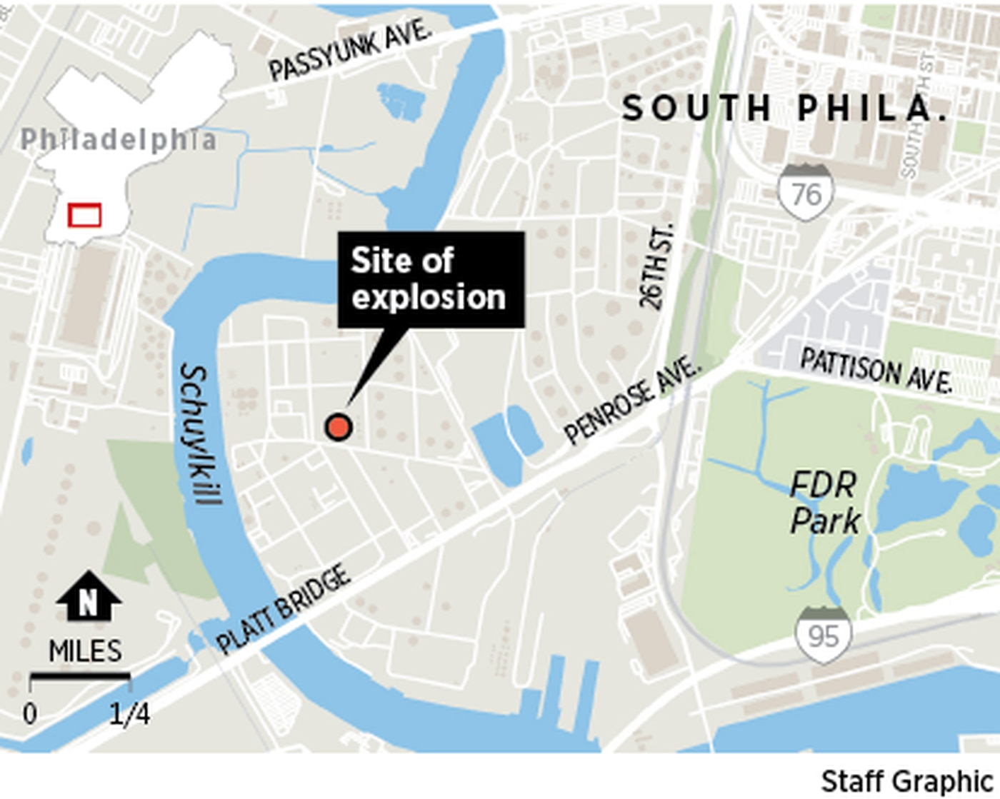 Locator map of the explosion and fire at the Philadelphia Energy Solutions refinery in South Philadelphia