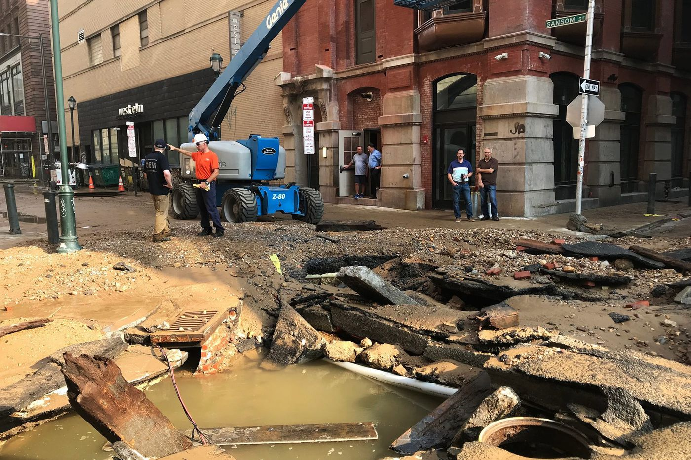 Center City water main break aftermath: A few buildings still lack power, months of work ahead