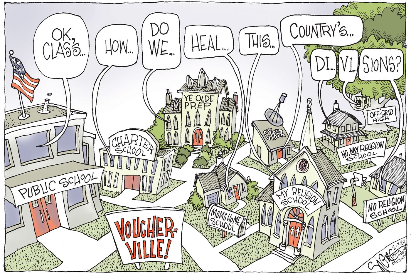 Political Cartoon: School vouchers for a divided society