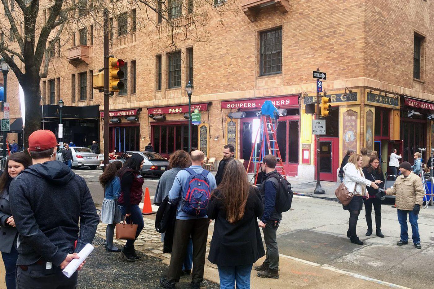 M. Night Shyamalan's 'Glass' filming scene in Rittenhouse Square today