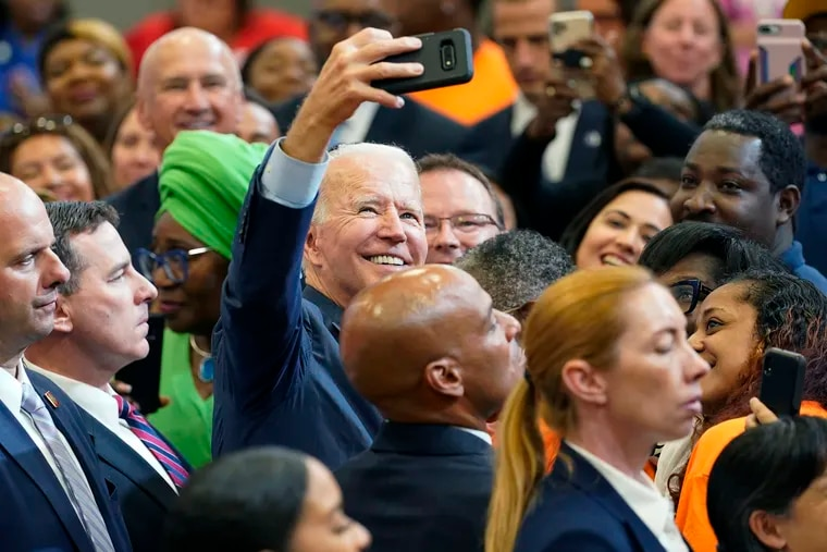 President Joe Biden greets members of the audience after speaking during a visit to a mobile COVID-19 vaccination unit in Raleigh, N.C., in June.