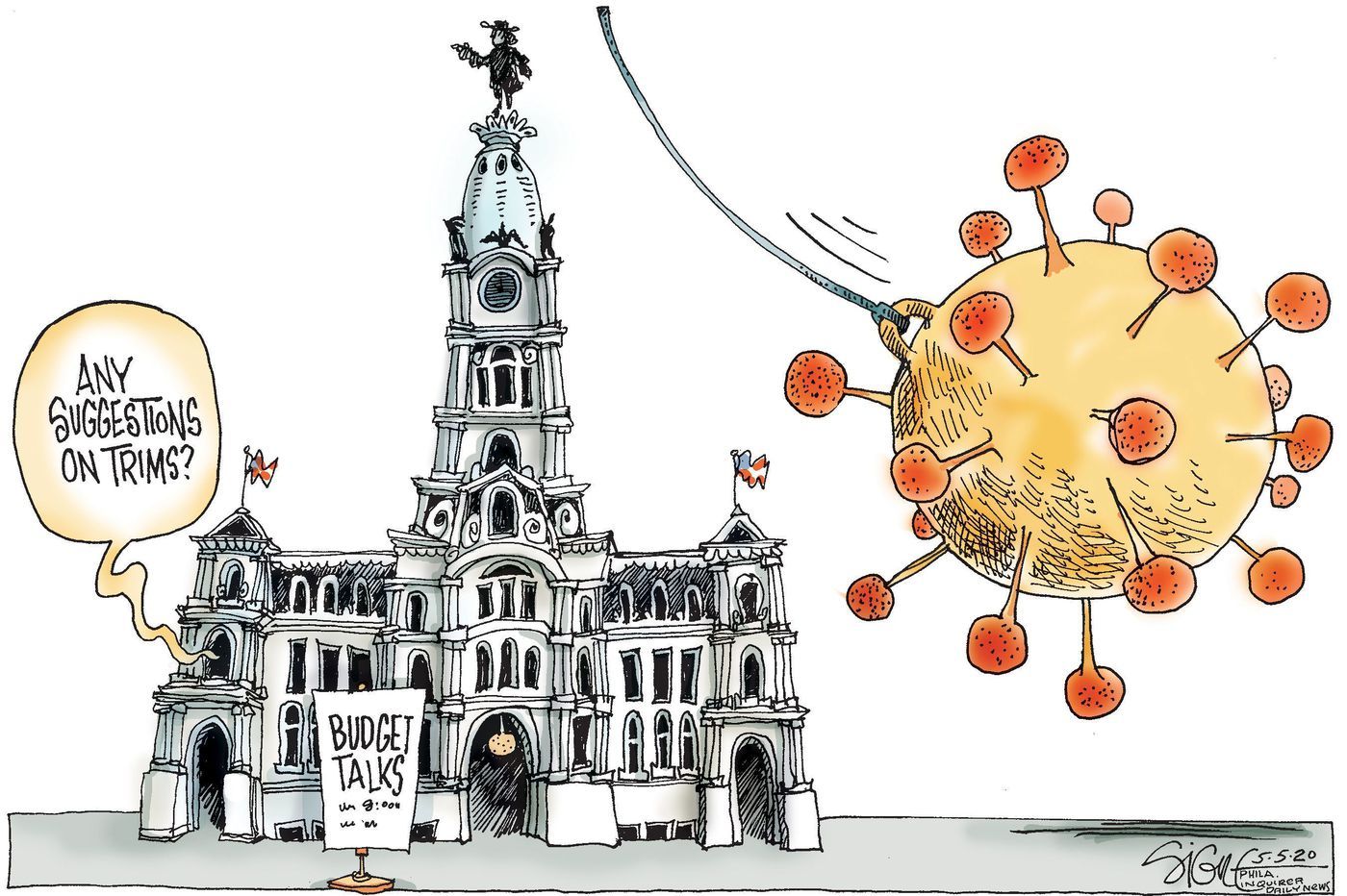 Political Cartoon: Philadelphia's coronavirus budget trimmer