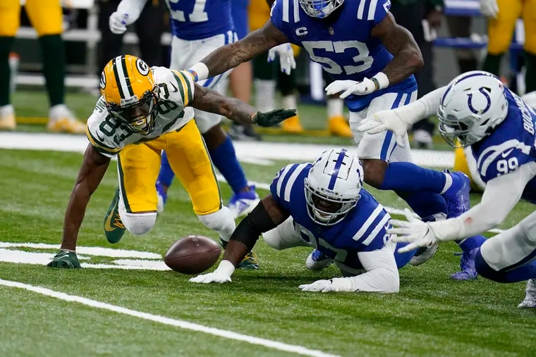 Marquez Valdes-Scantling's fumble set the Colts up to win in overtime against Green Bay on Sunday.
