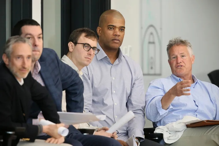 Sixers senior vice president of player personnel Marc Eversley (second from right) was given permission to interview for the Chicago Bulls general manager job this week.