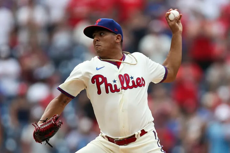 """Phillies relief pitcher Ranger Suarez relies on a """"slow"""" fastball and sinker to get hitters out."""