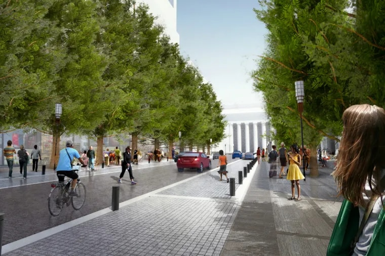A rendering of an esplanade on what is now JFK Boulevard. Cars, pedestrians, and bikes would share the street.