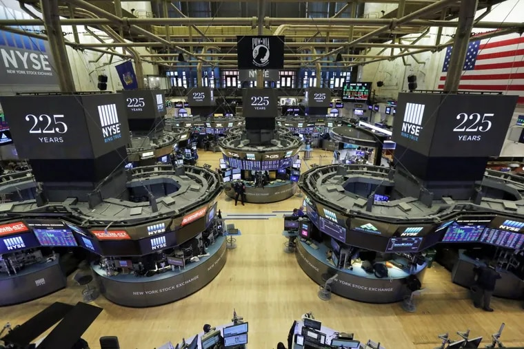 """Traders work on the floor of the New York Stock Exchange on  Oct. 18, 2017 — almost 30 years to the day after the Oct. 19, 1997, crash known as """"Black Monday."""""""