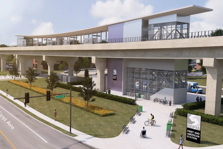 SEPTA's First and American Station along the proposed King of Prussia rail extension. The authority held a public meeting Tuesday to give an update on the project.