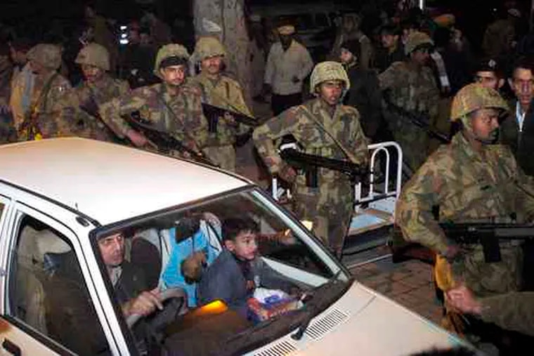 The bomber targeted a large gathering of Shiite Muslims in Muzarrafabad, the capital of the Pakistani-controlled portion of Kashmir, which has mostly been spared terrorist violence.