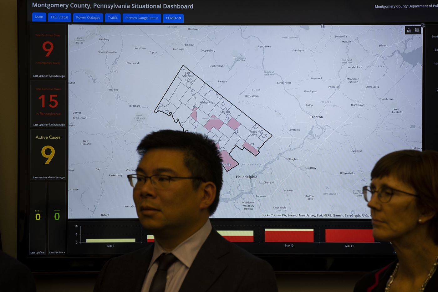 Dr. Alvin Wang, Regional EMS Medical Director and Dr. Brenda Weis, MSPH, PhD, Administrator, Office of Public Health, stand in front of a map of Montgomery County at the Montgomery County Department of Public Safety on Wednesday.