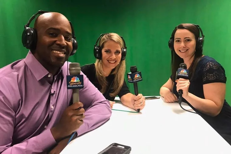 Longtime NBC Sports Philadelphia personality Marshall Harris, seen here in 2017 alongside colleagues Amy Fadool and Jessica Camerato, had been noticeably absent from the network for the past month.