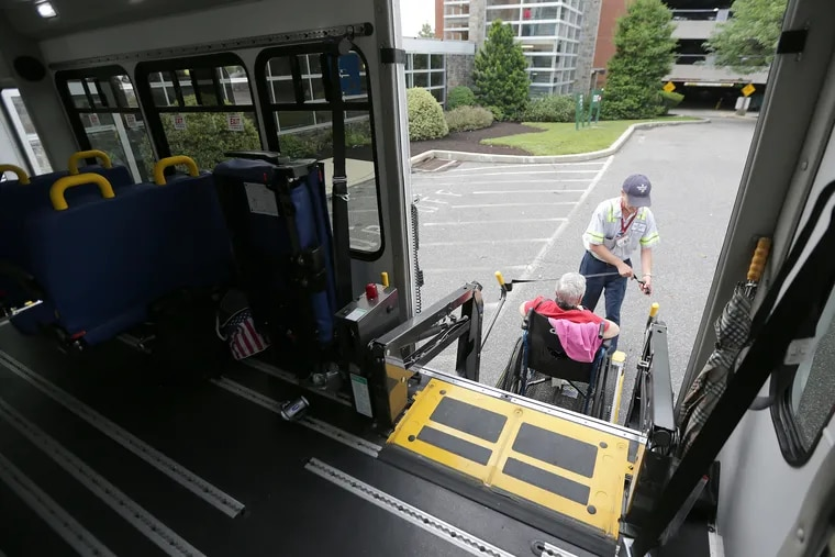 Community Transit of Delaware County driver Mike Williams Sr. picks up a passenger at Crozer-Chester Medical Center in Chester, Pa. on June 6, 2019.