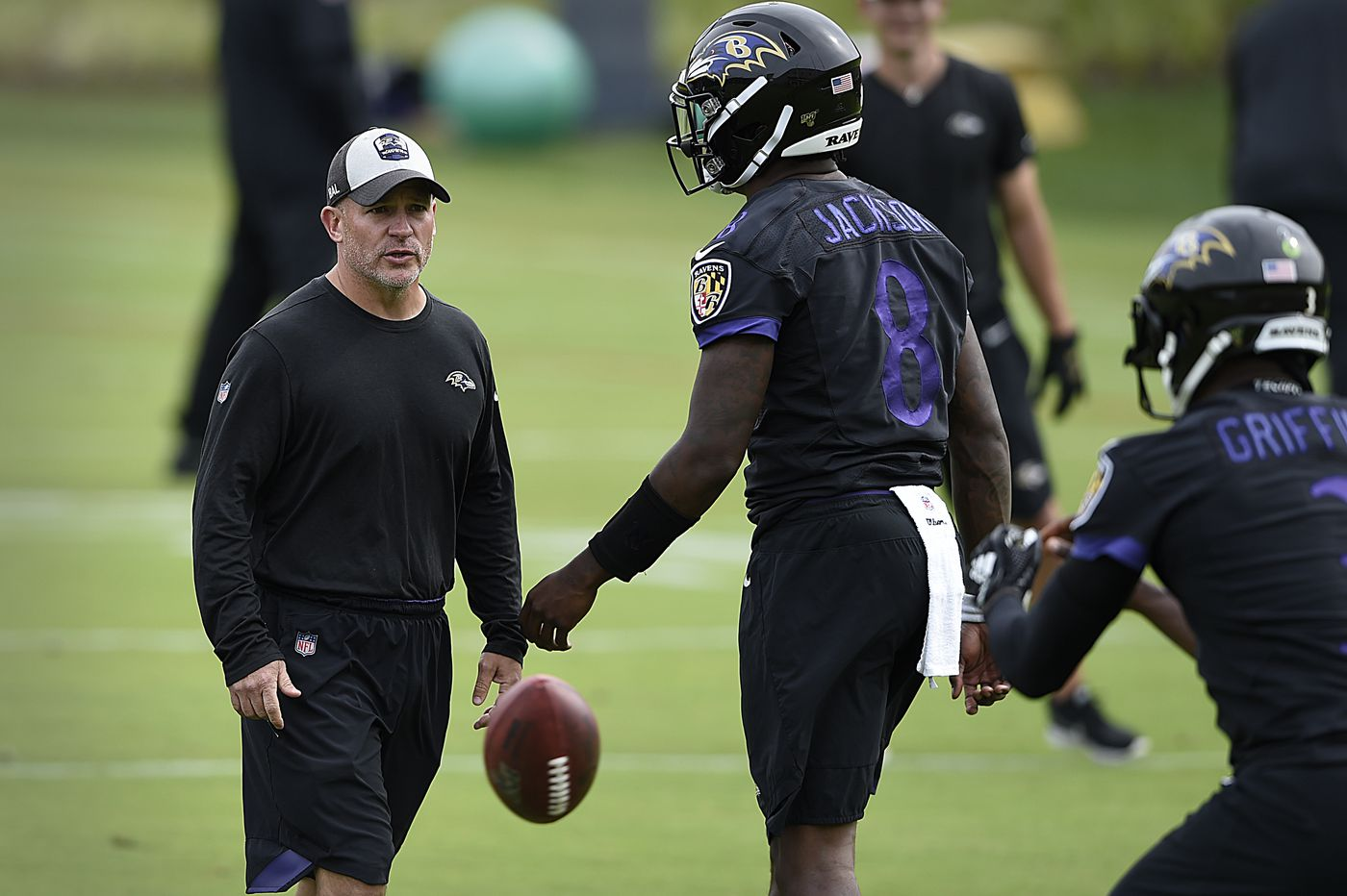 Ravens coach John Harbaugh says James Urban and Bobby Engram won't be leaving for the Eagles