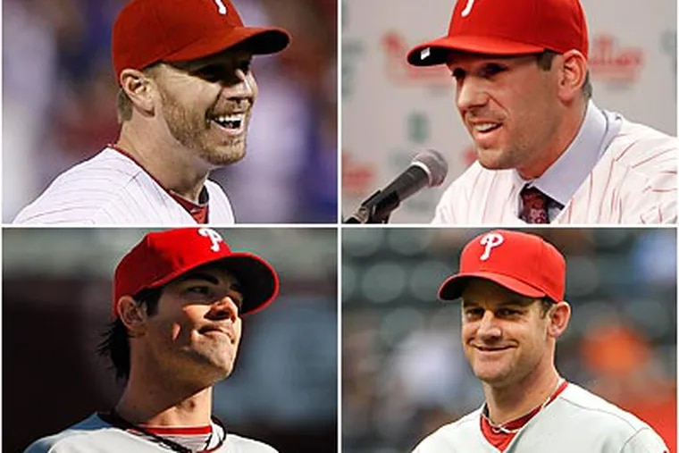 The Phillies' pitching stars: Roy Halladay, Cliff Lee, Cole Hamels and Roy Oswals. (File photos)