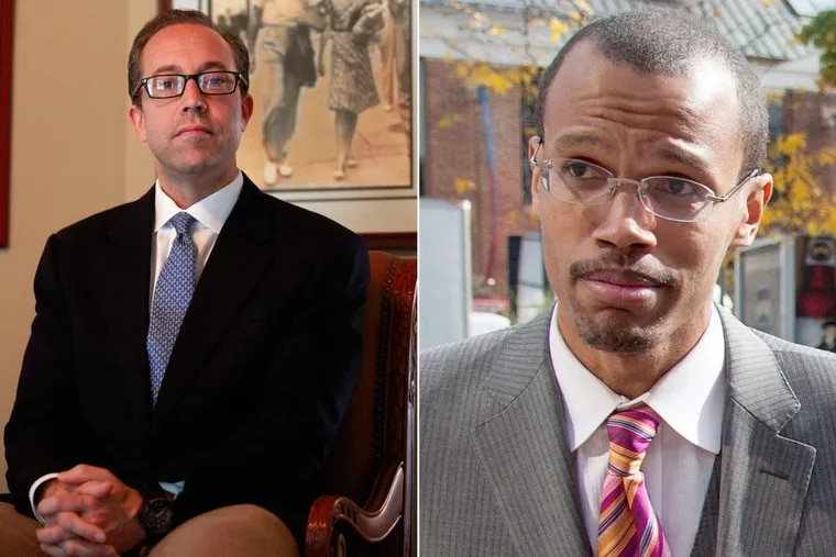 """Former Philadelphia School District contractor David Shulick, left, said he was pressured to rehire Chaka """"Chip"""" Fattah Jr. in 2011."""