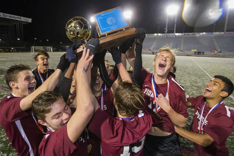 Conestoga celebrates after beating Elizabethtown in the 2016 PIAA Class 4A final. They will try to repeat on Friday against Hempfield.