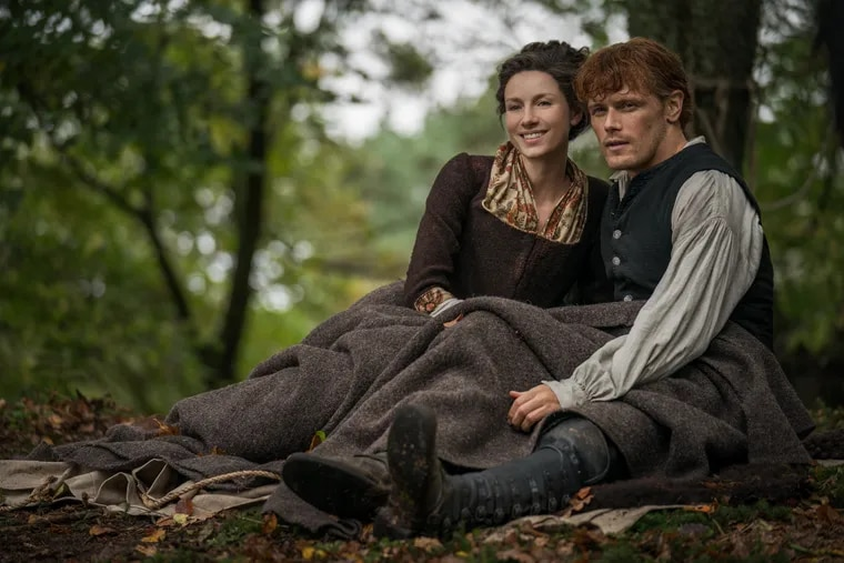 """Caitriona Balfe and Sam Heughan as Claire and Jamie in the new season of Starz's """"Outlander"""""""