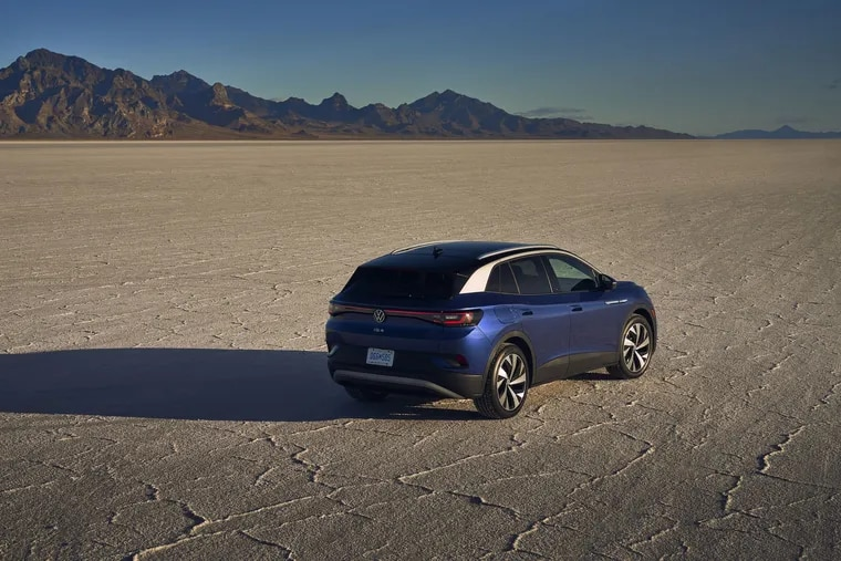The 2021 Volkswagen ID.4 Pro uses a 201-horsepower electric motor to power the rear wheels but will have an all-wheel-drive version coming this fall.