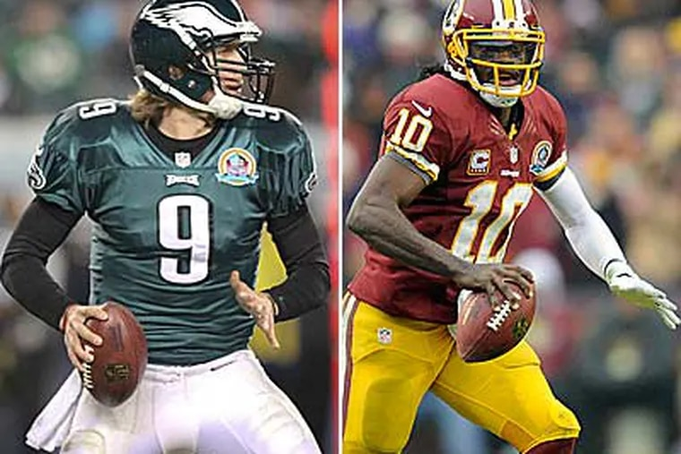 Nick Foles (left) and Robert Griffin III were drafted in 2011. (Steven M. Falk/Staff Photographer) (Nick Wass/AP)