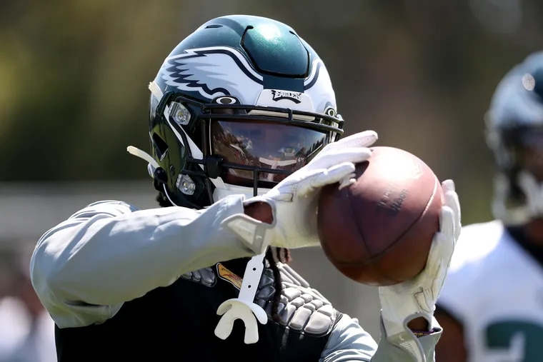 Eagles wide receiver Marken Michel practices during training camp in August.