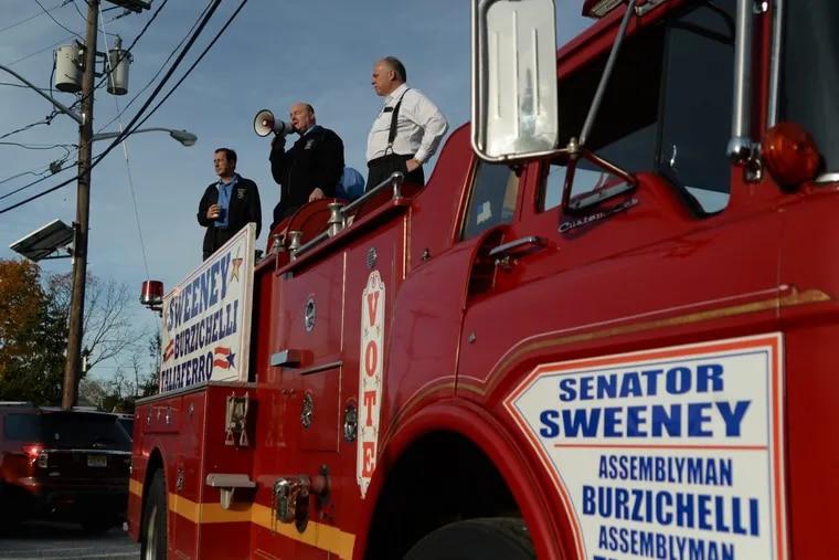 Senate President Steve Sweeney (right) addressed supporters on Saturday in Woodbury. GENEVA HEFFERNAN / Staff Photographer