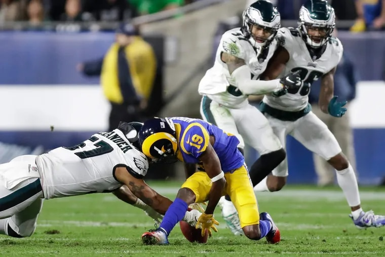 Philadelphia Eagles linebacker D.J. Alexander made a big play when he grabbed the loose ball after Los Angeles Rams wide receiver JoJo Natson fumbled it on a punt return in the fourth quarter.