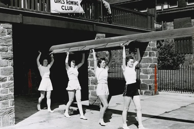 Women of the Philadelphia Girls' Rowing Club preparing to row, photograph (circa 1940).