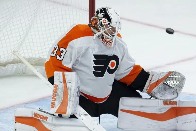 Flyers goaltender Cal Pickard making a save against the Senators.