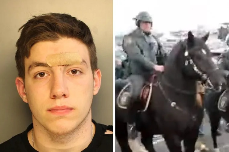 Andrew Tornetta (left) was arrested by police after allegedly punching a mounted officer's police horse outside Lincoln Financial Field on Sunday prior to the Eagles NFC Championship game against the Vikings.