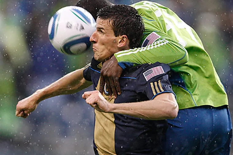 Sebastien Le Toux will look to lead the Union to a victory against Manchester United. (David Maialetti / Staff Photographer)