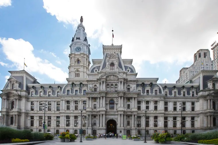 Philadelphia City Hall is shown. Council members are signing letters promoting American Water Resources' service line warranty. The letters, which have the city seal, ask homeowners to consider buying the protection plan.